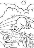 Färga sidor anhydrous gullig katt little vektor illustrationer