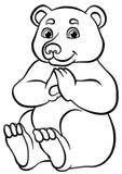 Färga sidor anhydrous Liten gullig björn royaltyfri illustrationer