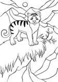 Färga sidor anhydrous Liten gullig tiger royaltyfri illustrationer