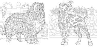 Färga sidor Färgläggningbok för vuxna människor  Antistress frihands skissar stock illustrationer