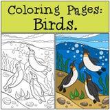 Färga sidor: Fåglar Tre lilla gulliga pingvin simmar stock illustrationer