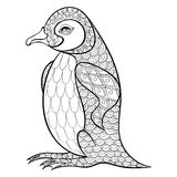 Färga sidor med konungen Penguin, zentangleillustartion för adu Royaltyfria Bilder
