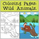 Färga sidor: Vilda djur Små gulliga utterleenden stock illustrationer