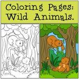 Färga sidor: Vilda djur Två lilla gulligt behandla som ett barn björnar Royaltyfri Fotografi
