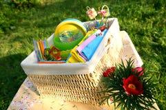 Färga sommarpicknicktillbehör i en korg Royaltyfria Foton