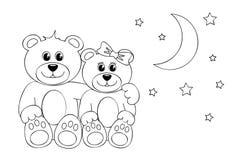 Färga teddys måne och stjärnor för sida två stock illustrationer