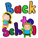 Färga tillbaka till den skolatext och flickan med gullig färgläggning för teckning för ryggsäckillustrationtecknad film Arkivfoton