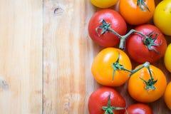 Färga tomater som överst arrangera i rak linje på rätt av den wood tabellen Royaltyfri Foto