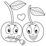 Färga två gulliga förälskade tecknad filmkörsbär royaltyfri illustrationer
