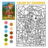 Färga vid numret för barn, flicka och får royaltyfri illustrationer