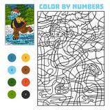 Färga vid numret för barn, flodhäst på skridskor stock illustrationer