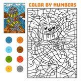 Färga vid numret för barn, valross på stranden vektor illustrationer