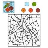 Färga vid numret, frukter och grönsaker (körsbäret) Royaltyfria Foton