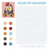 Färga vid numret, utbildningslek med pingvinet stock illustrationer