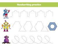 Färga vid numret, utbildningsleken för barn Färga sidan som drar ungeaktivitet Robotdesign Royaltyfri Foto