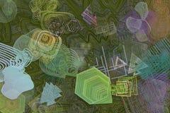 Färgabstrakt begreppmodell, generativa blandade smutsiga former, konstbakgrund Begrepp, teckning, bakgrund & effekt vektor illustrationer