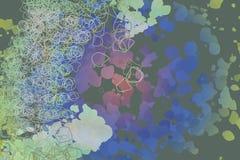 Färgabstrakt begreppmodell, generativa blandade smutsiga former, konstbakgrund Detaljer, design, textur & digitalt Royaltyfri Fotografi