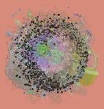 Färgabstrakt begreppmodell, generativa blandade smutsiga former, konstbakgrund Effekt, repetition, tapet & diagram Arkivbild