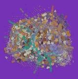 Färgabstrakt begreppmodell, generativa blandade smutsiga former, konstbakgrund Kanfas, design, tapet & illustration Royaltyfria Foton