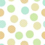 Färgad enkel pastell doted cirklar på den sömlösa modellen för den vita geoen, vektor royaltyfri illustrationer