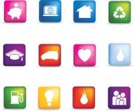 Färgad home symbolsknappset Arkivfoto