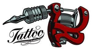 Färgad illustration av en tatueringmaskin royaltyfri illustrationer