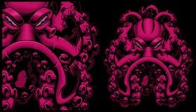 Färgad illustration för vektor av en bläckfisk stock illustrationer