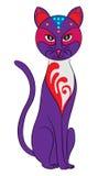 Färgad katt med modeller Vektor Illustrationer