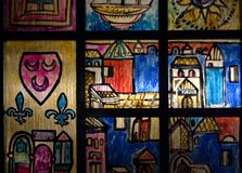 Färgad målat glassdörr Royaltyfria Foton