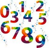 Färgad nummeruppsättning stock illustrationer
