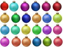 färgad prydnad för jul samling royaltyfria foton