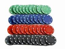 färgad set för kasino chiper Arkivfoto