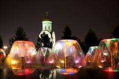 färgad springbrunn moscow Royaltyfri Bild