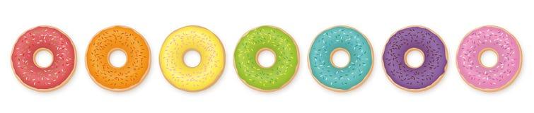 Färgad uppsättning för Donuts regnbåge Arkivbild