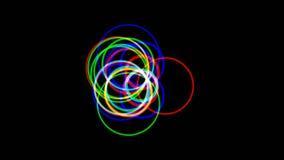 Färgad VJ-längd i fot räknat, bakgrundstexturcirklar stock video