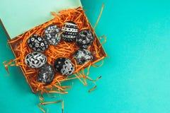färgade ägg med den svartvita geometriska modellen i ett dekorativt orange rede på en blå bakgrund royaltyfri foto