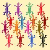 Färgade ödlor som baseras på afrikanska etniska motiv också vektor för coreldrawillustration royaltyfri illustrationer