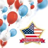 Färgade ballonger för självständighetsdagen guld- stjärna Royaltyfri Fotografi