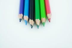 färgade blyertspennor Arkivbild