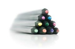 färgade blyertspennor för black Royaltyfri Foto