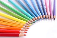 färgade blyertspennor för sortiment Royaltyfria Foton