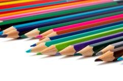 färgade blyertspennor för sortiment Royaltyfri Bild
