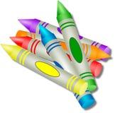 färgade crayons royaltyfri illustrationer