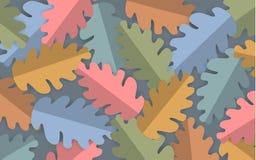 Färgade eken för papperssnittstil lämnar den pastell bakgrund, baner för höstnedgångtacksägelse stock illustrationer