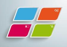 4 färgade fasade fyrkanter Infographic PiAd Arkivbild