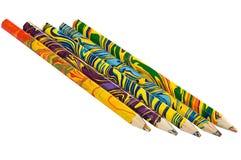 färgade fem mång- blyertspennor Royaltyfri Foto