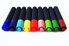 Färgade filtpennor Arkivfoto