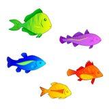 färgade fiskar royaltyfri illustrationer