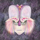Färgade fjädrar för Egzotic krigare hjälm Arkivbild