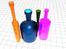 färgade flaskor Arkivfoton